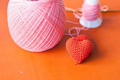 Red knit heart — Stockfoto