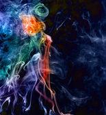 Mujer de rojo - nube de humo, nubes de humo coloreado, mujer de humo — Foto de Stock