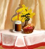 Ostern-stilleben-Malerei — Stockfoto