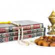 Постер, плакат: The holy Quran with oudh burner islamic prayer beads and dates p