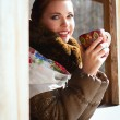 Russian woman in a scarf and coat — Stock Photo #43913919
