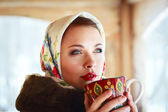 Russian woman in a scarf and coat — Stock Photo