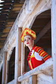 Russian girl in a kokoshnik — Foto Stock