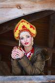 Russian girl in a kokoshnik — Stock Photo