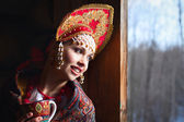 Russian girl in a kokoshnik — Stockfoto
