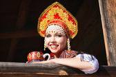 Russian girl in a kokoshnik — Foto de Stock