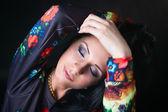 Portrait of pretty brunette in flower Sweatshirts. Swag girl. Fa — Foto de Stock