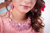 Pink decoration technique soutache a girl — Stock Photo