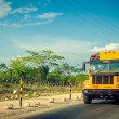 Yellow bus on the Rural road in Dominican Republic — Stock Photo #42769175
