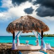 Wedding arch decorated on caribbean beach — Stock Photo #42896447