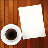 Blank paper and coffee cup on table — Stock Vector