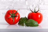 Fresh Tomatoes with a Basil — Stock Photo