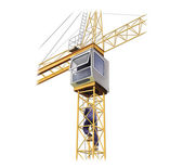 Illustration of crane with a man climbing to the cabin — Stockfoto