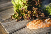 Bread and letuce — Stock Photo