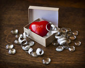Little red heart in a box — Стоковое фото