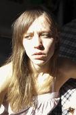 Attractive Caucasian woman looking sad — Foto de Stock