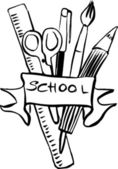 Set of hand drawn school supplies — Stock Vector