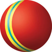 Red ball with yellow and blue stripe — Stock Vector
