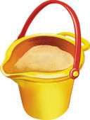 Vector illustration of yellow toy bucket — Stock Vector