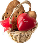 Little basket with red heart and cookies — Vector de stock