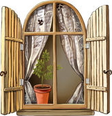 Old window with wooden frame — Stock Vector