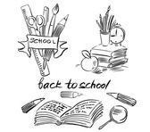 Back to school, Black and white line drawing, Isolated on white — Stock Photo