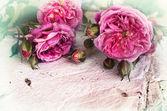 Rose rosa, petali e carta fatta a mano — Foto Stock
