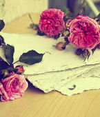 Pink roses, petals and handmade paper — Stock Photo