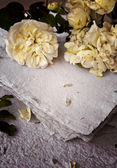 White roses and handmade paper — Photo