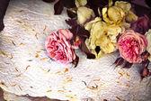 バラと手作りのペーパー クラフト — ストック写真