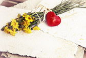 Bouquet of dandelions and red heart — Stock Photo