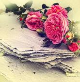 Rosas e papel artesanal — Fotografia Stock