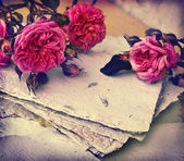 Pink roses and handmade paper — Stock Photo