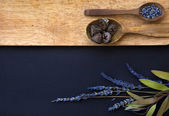 Wooden spoons with spices and lavender flowers — 图库照片