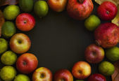 Red apples, pomegranate and limes — Stock Photo
