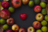 Red apples and little heart — Stock Photo