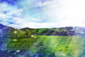 Summer landscape with cloudy sky — Stock Photo