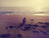 Filhote de Pug, brincar com areia — Fotografia Stock