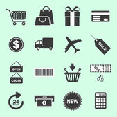 List of shopping related icons — Stock Vector