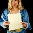Lady holding piece of paper — Stock Photo #43498227