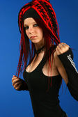 Dreadlocks rocker girl — Stock Photo