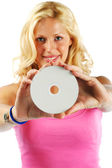 Girl with printable cd — Stock Photo