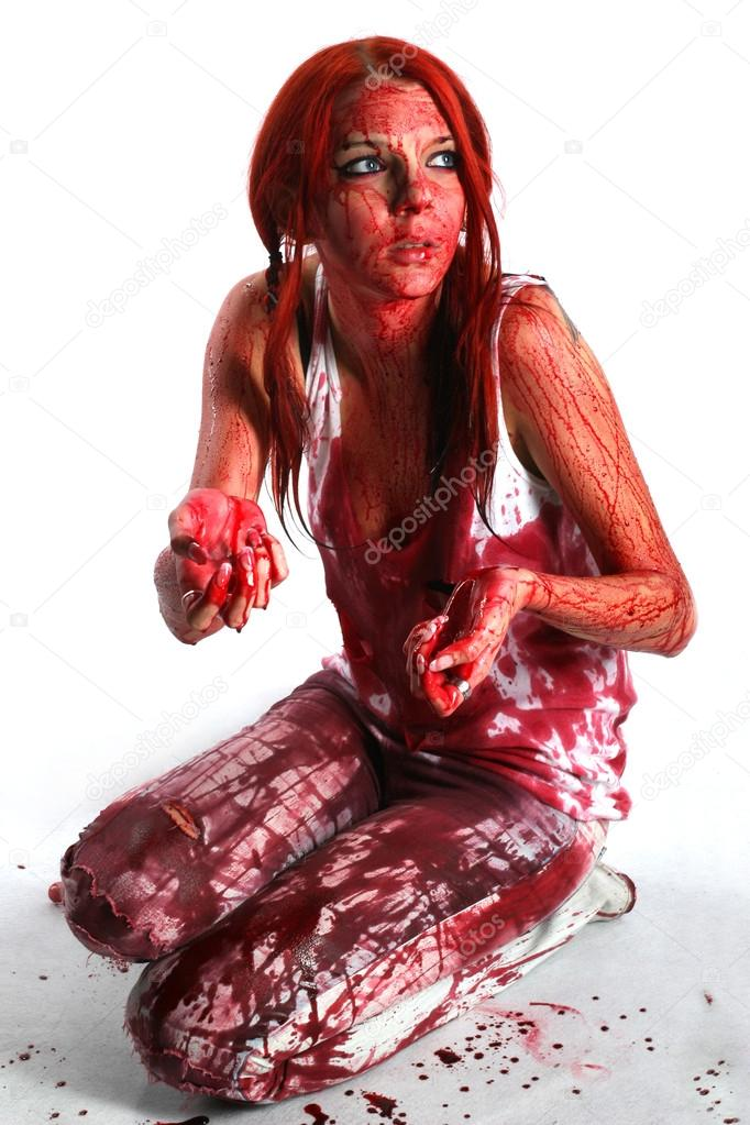 naked girls covered in blood