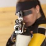 Woman Shooting — Stock Photo