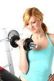 Blonde girl training in fitness — Stok fotoğraf