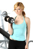 Blonde girl training in fitness — Stockfoto