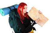 Girl ready for backpacking — Stock Photo