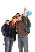 Couple backpacking — Stock Photo