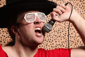 Crazy rock and roll singer — Stockfoto