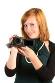 Woman with modern digital camera — Stockfoto